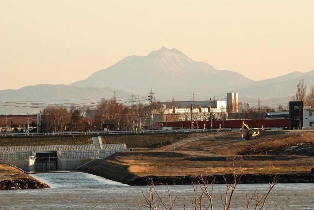 石狩川と世田豊平川の合流点