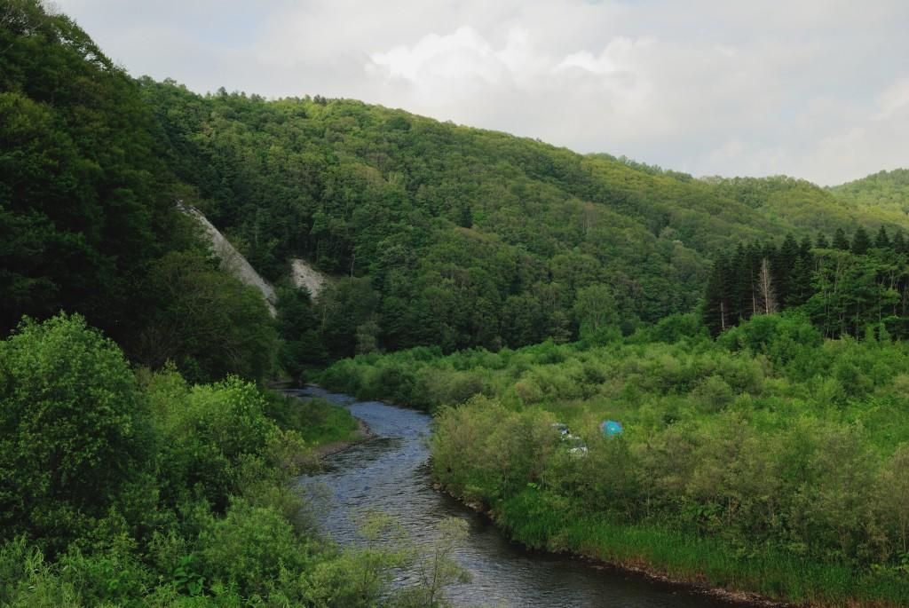 尻別川と登延頃川の合流点