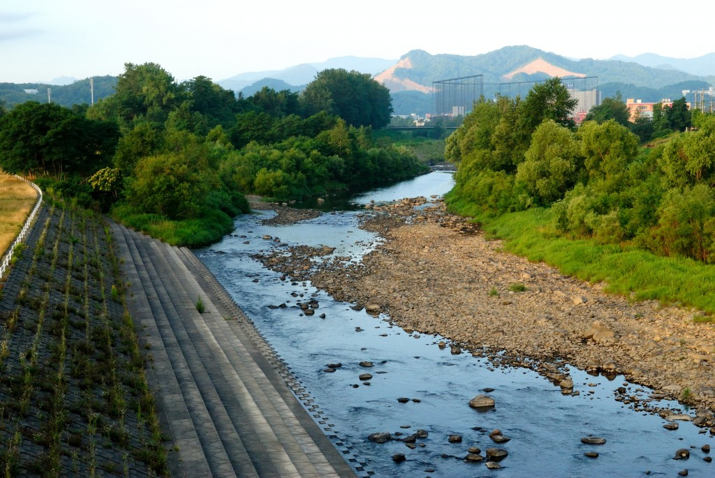 豊平川と真駒内川の合流点