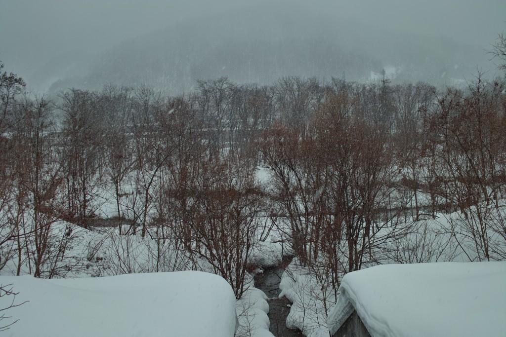 豊平川と東野々沢川の合流点